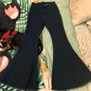 Dark wash bell bottom jeans